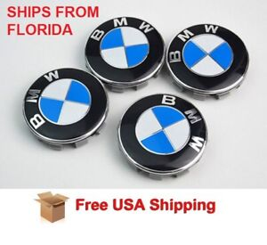 White Blue Wheel Cover Badge Hub Emblem Center Cap 68mm 4pc For Universal Bmw