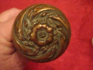 Antique Victorian Ornate Floral Copper Brass Door Knob Dated April 7 1891