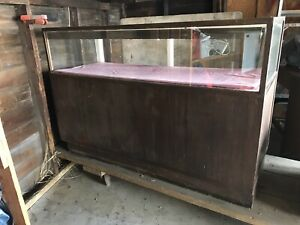 Vintage Wood Glass Lighted Display Case 8 Pull Drawers In Back