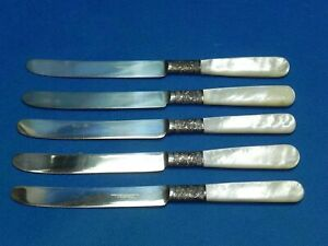5 Meriden Cutlery Co 1855 Antique Sterling Mother Of Pearl 7 Dessert Knives