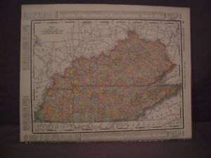 Antique 1898 Color Map Of Tennessee Kentucky Or Mississippi Rand Mcnally Atlas