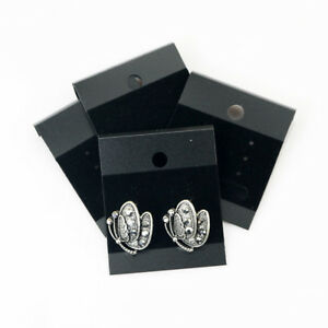 100pcs Black Velvet Jewelry Earring Studs Display Holder Hanging Cards Flocked