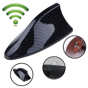 1x Carbon Fiber Car Shark Fin Universal Roof Antenna Radio Fm Am Decorate Aerial