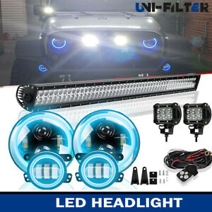 52 Led Light Bar rgb 7 Led headlight fog Lights Kits For Jeep Wrangler Jk