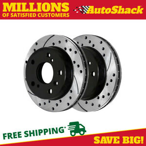 Rear Pair 2 Drilled Slotted Brake Rotors 5 Stud Fits 13 17 2018 Toyota Avalon