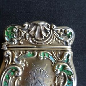 Antique Sterling Silver Vesta Enamel Blue Chatelaine Match Case Holder Vintage
