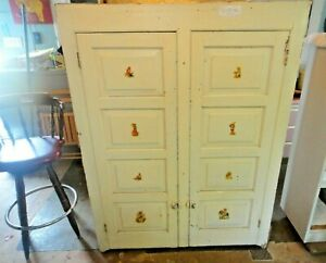 Antique Built In Primitive Painted Step Back Kitchen Farm Cabinet Top Hutch Vg