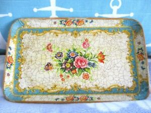 Aqua Yellow Crackle Painted Paper Mache Tole Roses Dresser Jewelry Pin Tray