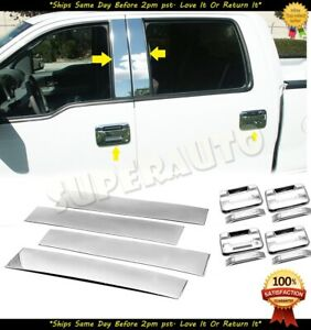 For 2004 2014 Ford F 150 F150 Stainless Polished Door Pillars Handle Covers Set