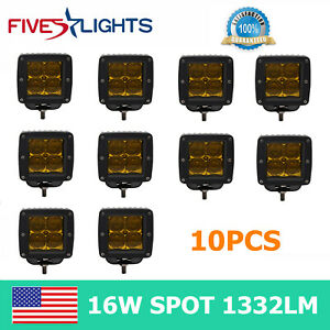 10x 3inch 16w Square 5d Led Work Light Yellow Spot Cube Pods Offroad Fog Bumper