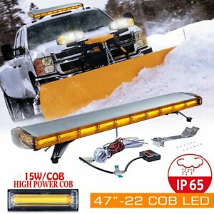 Emergency Amber 22 Cob Led Roof Top Strobe Light Bar Beacon Truck 47 88 12 24v