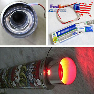 Us Car Suv Bike Exhaust Tail Pipe Red Flame Led Light Strip Modification