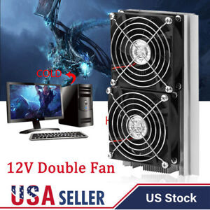 12v Thermoelectric Peltier Refrigeration Cooling System Kit Cooler Double Fan
