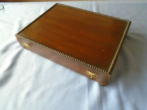 Vintage Bead Style Mahogany Canteen Of Cutlery Box Wooden Storage Display Box