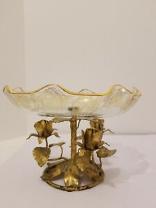 Vintage Gold Gilt Metal Tole Roses Glass Pedestal Platter Dish Hollywood Regency