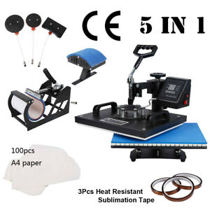 5 In 1 12x15 T shirt Heat Press Machine For Mug Hat Plate Cap Mouse Pad W Tape