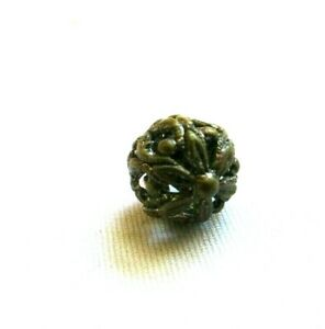 Antique Brass Pierced Cricket Cage Ball Button Charmstring Shank