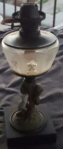 Beautiful Antique Spelter Liquid Table Lamp Fabulous Cut To Clear Glass Res