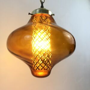 Mid Century Amber Pendent Diffuser Swag Lamp Accent Decor Hanging Ceiling Lamp