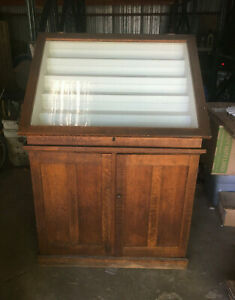 Antique Oak Glass Shelf Display Case 2 Door Flip Top Vintage 183 19l