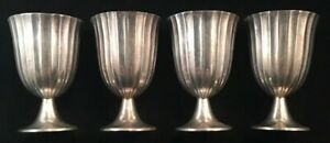 Set Of Four Unusual Tiffany Sterling Silver Ribbed Cordials Cups