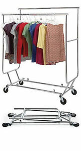 3 Clothing Racks Double rail Bar Commercial Folding Garment Rolling Ez Fold
