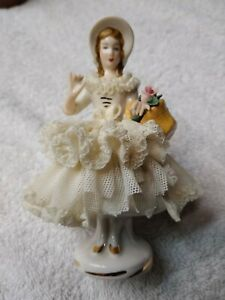 Antique Signed Dresden Porcelain Country Woman Figure