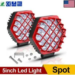 2x 5inch 192w Led Work Light Bar Pods Spot Fog Lamp Offroad Driving Truck Red