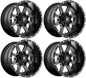 22x10 Black Milled Wheels Fuel Maverick D538 8x180 10 Set Of 4