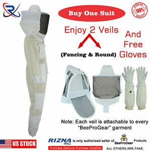 3 Layer Bee Suit Ultra Ventilated Beekeeping Suit Coverall Round Veil 3xl