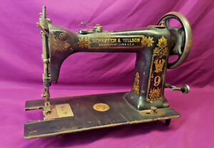 Antique Wheeler Wilson W9 Vintage Hand Crank Sewing Machine D 9 3094662