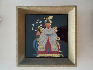 Pilkington Ceramic Art Tile Framed Antique Hand Painted Oriental Signed Chanzi