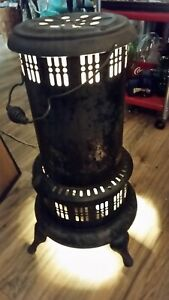 Antique Perfection 525m Wood Burning Round Metal Stove Converted Electric Light