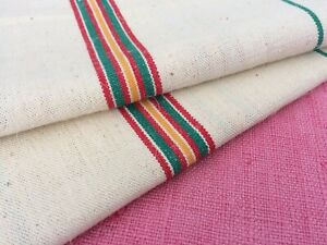 Pair Vintage French Linen Metis Torchon Tea Towel Green Orange Red Stripes