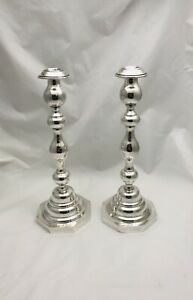 Authentic English Sterling Silver Wt Son Pair Candlesticks