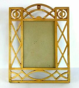 Vintage Art Deco Picture Frame Freestanding 3 5 X 5 Photo Metal Distressed