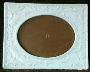 Vintage Cast Iron Picture Frame 3 5 X 5 Ornate White Scroll Oval Rectangle