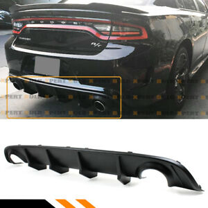 For 2015 2019 Dodge Charger Re Design New Shark Fin Rear Bumper Diffuser Valance