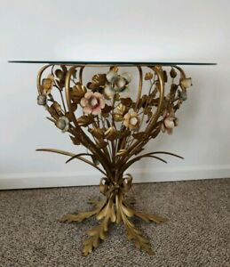 Vtg Italian Gold Gilt Tole Side End Table Xl 28 H Bouquet Of 18 Roses