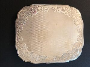 Vintage Antique Etched Engine Turned Sterling Silver 830 Compact Mirror Box