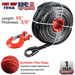 95 3 8 Synthetic Winch Rope Recovery Cable 20500lb Red Heavy Duty Steel Hook