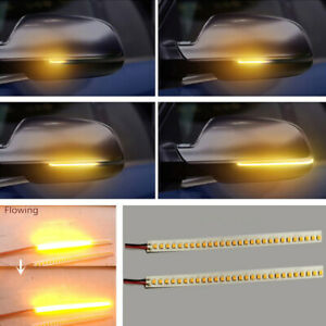 2x 15cm Amber Led 12v Car Side Mirror Flowing Turn Signal Strip Light Waterproof