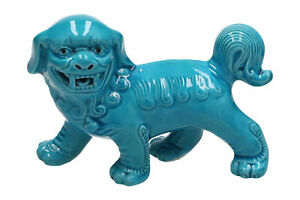 A Pottery Foo Dog Bright Blue Chinese Modern