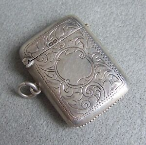 Antique English Sterling Silver Chatelaine Vesta Match Safe