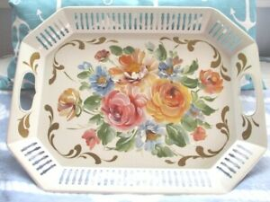Outstanding Vintage Near Mint Painted Pink Yellow Blue Roses Off White Tole Tray
