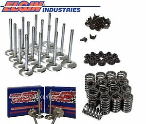 Chevy 16 305 350 327 Stainless Valves 1 5 1 94 Elgin Z28 Springs Retainers