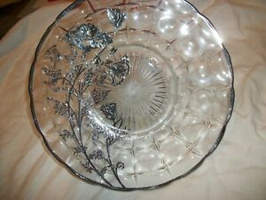 Vintage Silver Overlay Poppies On Glass Charger Serving Plate