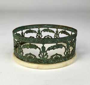 Superb Antique French Copper Marble Wine Bottle Coaster