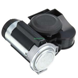 Black Air Horn Snail Compact Loud Alarm Kit For Car Truck Vehicle Motorcycle