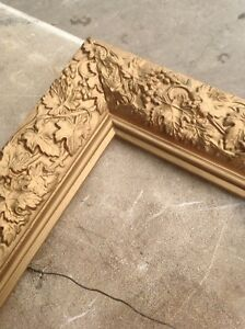 Vintage Shabby Chic Antique Style Gold Ornate Wooden Relief Carved Collectible